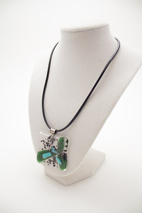 Green and Blue Glass Flower Necklace