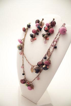 Pink/Lace/Black Rosebuds Necklace