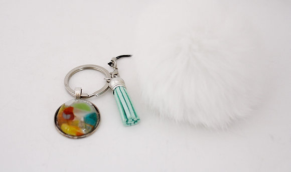 Rainbow & White Fur Keychain