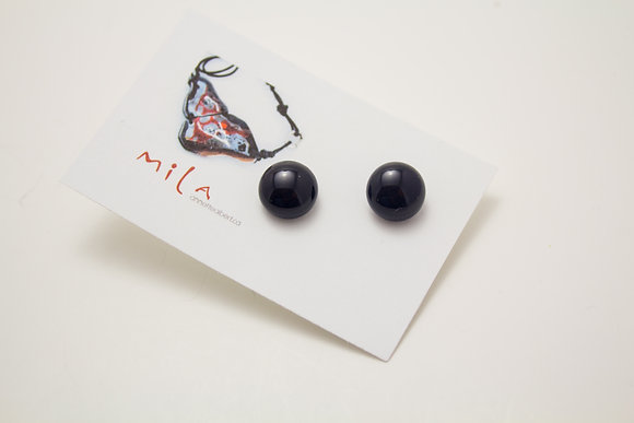 Small Circle Earrings in Black