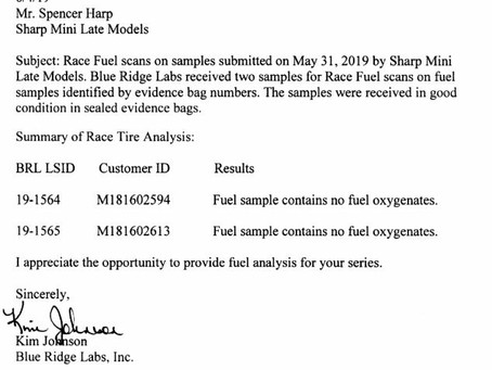 5/31/19 Sharp Chassis Tech Inspection Results