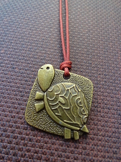 Cute Antiqued Brass Turtle Kid Necklace