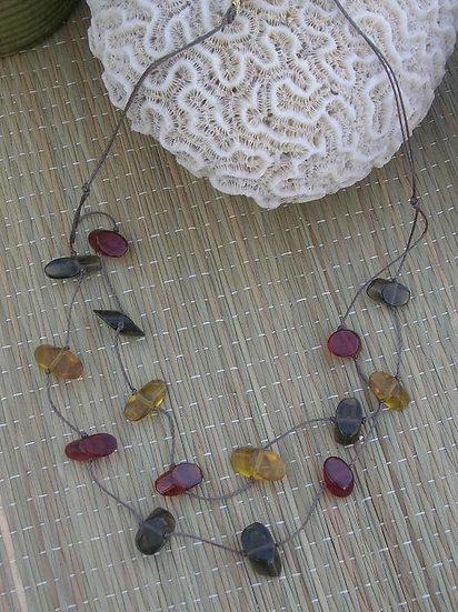 Tiered Red, Gold & Taupe Glass Bead Necklace