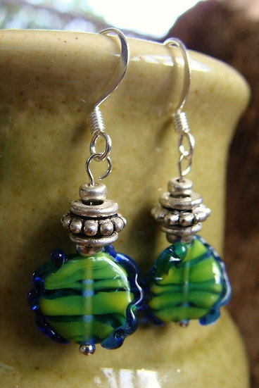 Small Drop Green Artisan Glass Bead Earrings