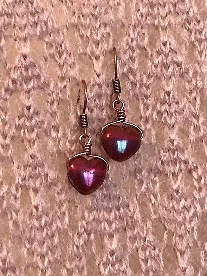 red heart glass bead kid earrings