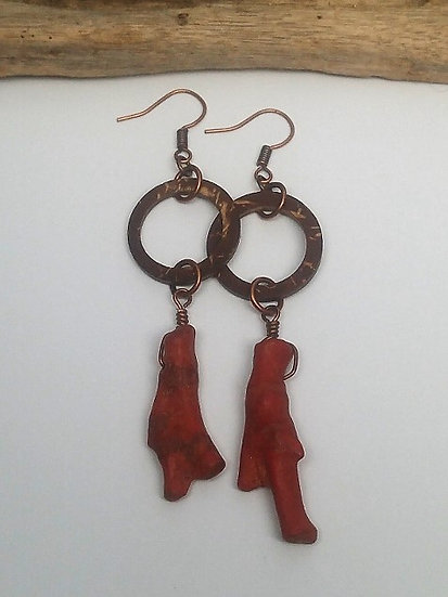 Red Coral & Coconut Long Dangle Natural Earrings