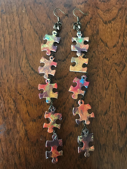 colorful shoulder duster upcycled puzzle earrings
