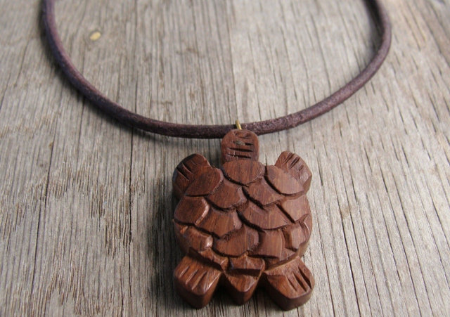 Carved Rosewood Cute Turtle Necklace