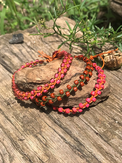 braided leather rust & color glass bead bracelets