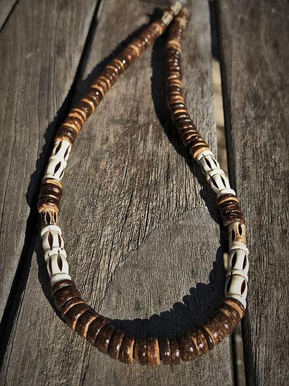 bone & wood men's surf necklace