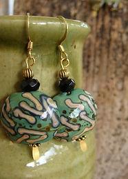 Affordable Big Green Artisan Glass Bead Earrings