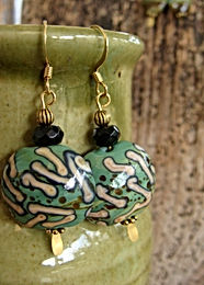 Affordable Big Green Artisan Glass Bead Earrings