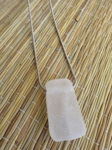 old white sea glass necklace