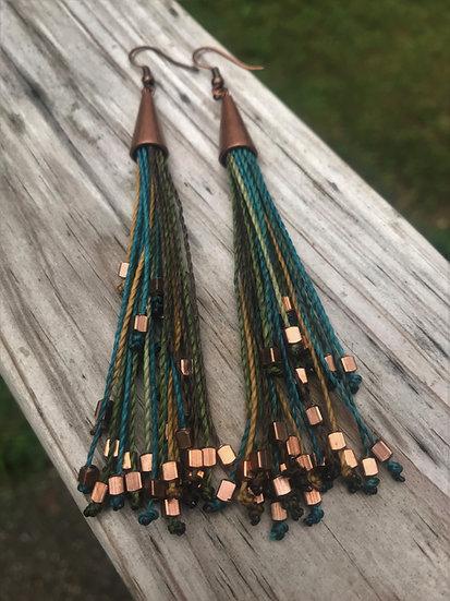 aqua, brown & olive long fringe earrings