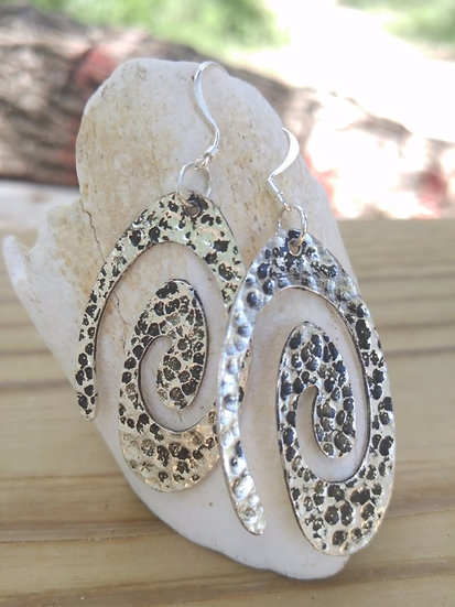 Sexy Big Hammered Silver Spiral Earrings