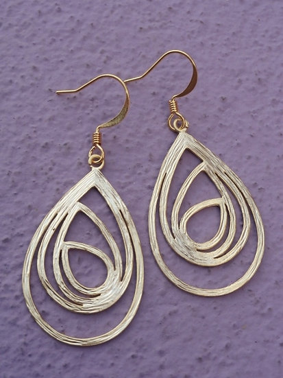 Chic Matte Gold Layered Teardrop Earrings
