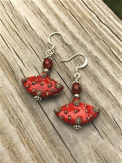 orange enamel glass bead & silver metal earrings