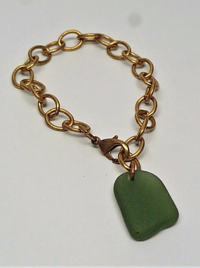 teal green sea glass brass metal bracelet