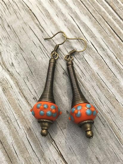 blue & orange artisan glass bead on long brass metal earrings