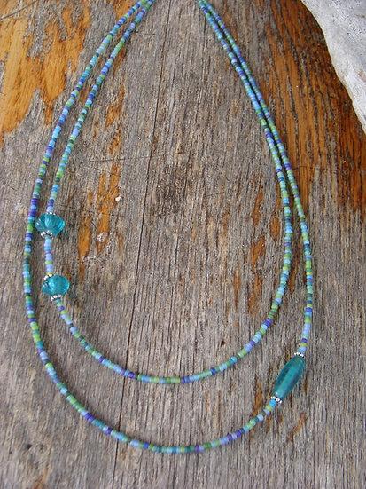 Tiered Asymmetrical Aqua Glass Bead Necklace