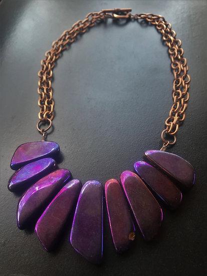 copper chain & purple gemstone necklace