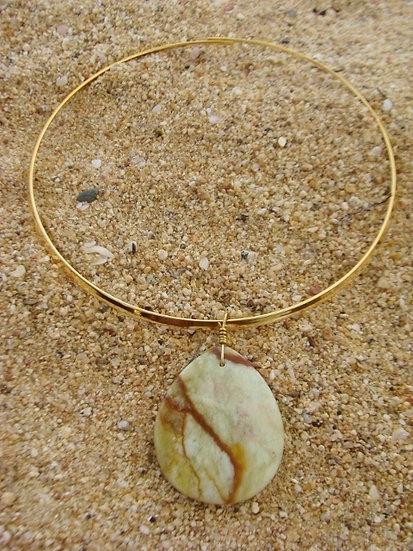 Chic Jasper Natural Gemstone Pendant Necklace
