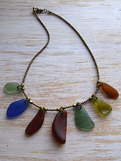 colorful graduating sea glass necklace