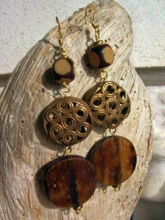 brass metal, buri nut & natural bone earrings