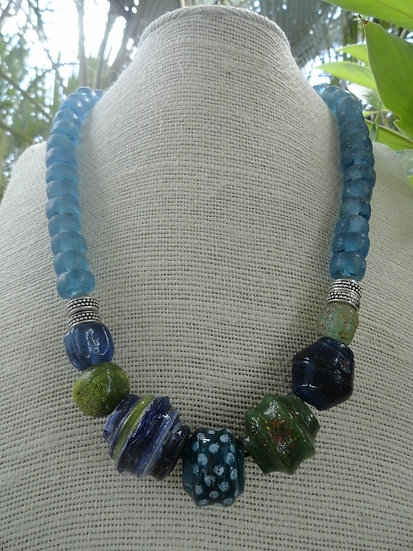 Chunky Blue Recycled Glass Bead Necklace