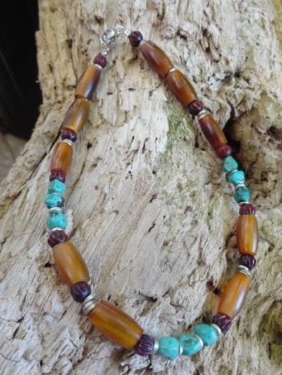 Horn & Turquoise Stone Ankle Bracelet
