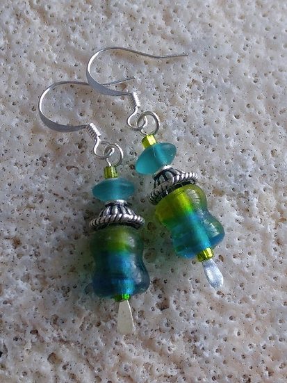 Chic Small Drop Green & Aqua Glass Bead Earrings