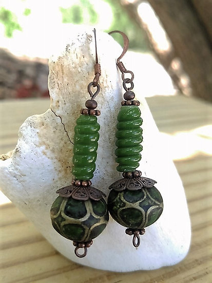 Affordable Drop Green Paper & Glass Bead Earrings