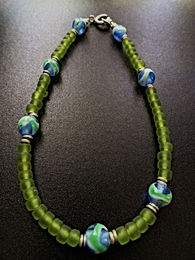 Affordable Beaded Green Glass Bead Sexy Anklet
