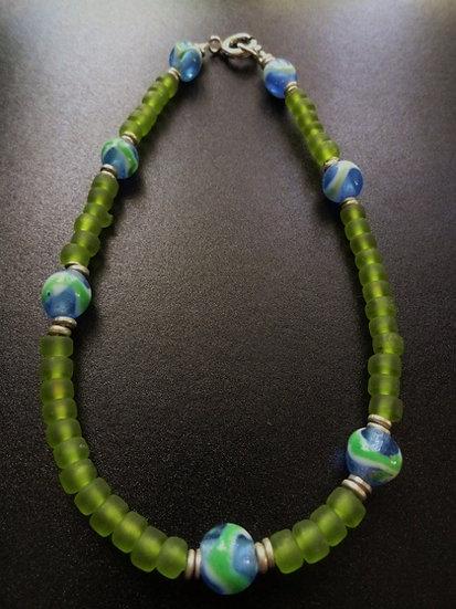 chartruese green glass bead ankle bracelet