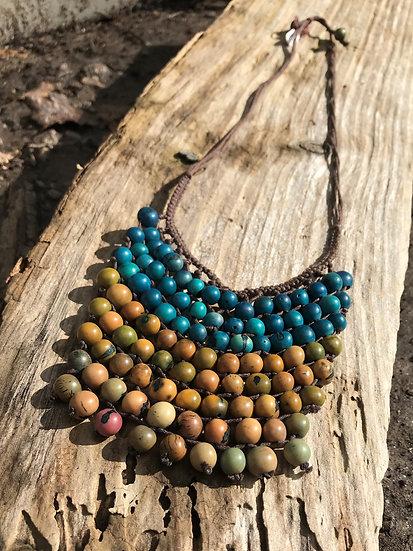 Aqua & Gold Acai Seed long Necklace