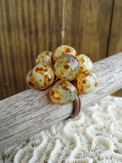 Adjustable Beige Bubble Artisan Glass Bead Ring