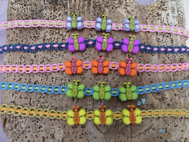 Nonmetal Macrame Colorful Butterfly Kid Necklaces