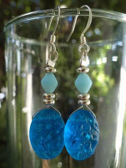 Medium Length Chic Aqua Glass Bead Dangle Earrings