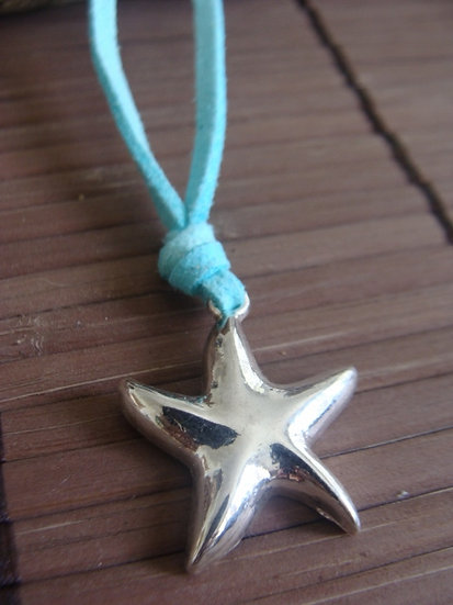 Cute Silver Star Fish Kid Necklace