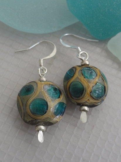 Chic Small Spotted Aqua Artisan Glass Bead Earrings