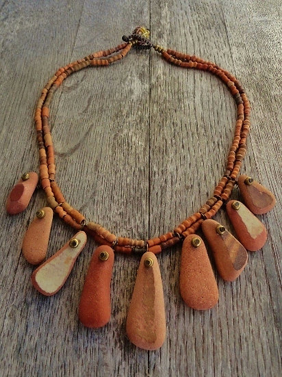 Tumbled Clay Tile Beaded Ocean Pottery Necklace