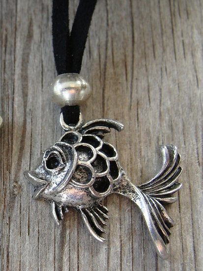 Cute Pewter Fish Kid Necklace