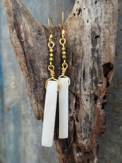 Sexy Long Dangle Chic Mother of Pearl Shell Earrings