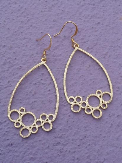 Chic Matte Gold Bubble Teardrop Earrings