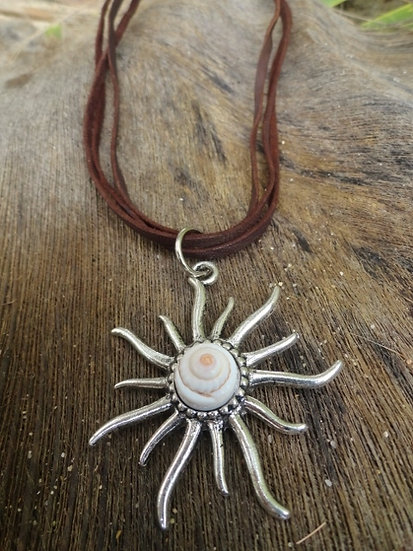 Natural Shell & Silver Sun Pendant Necklace