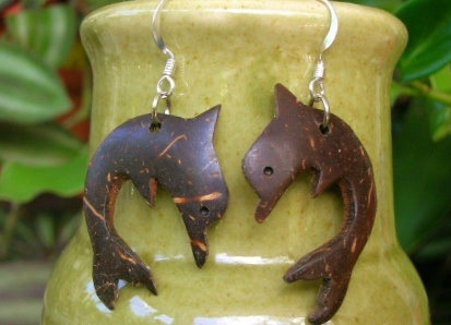 Affordable Coconut Dolphin Natural Earrings
