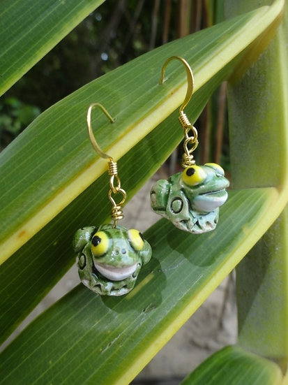 Cute Green Ceramic Frog Affordable Kid Earrings