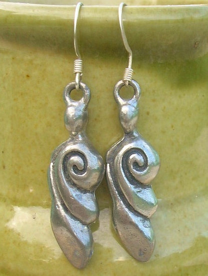 Affordable Small Drop Pewter Goddess Earrings