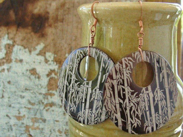 Large Bamboo Etched Hoop Natural Shell Earrings