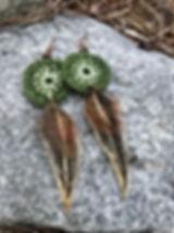 hippie boho green crochet long feather e